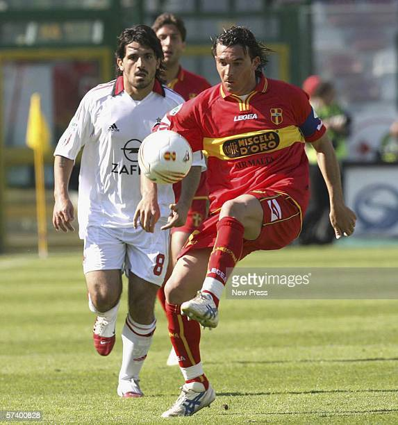 Salvatore Aronica of Messina in action against Ivan Gennaro Gattuso of Milan during the Serie A match between Messina and AC Milan at the Stadio...