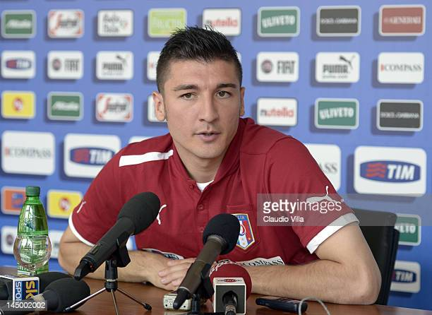 Salvatore Bocchetti of Italy attends a press conference at Coverciano on May 22 2012 in Florence Italy
