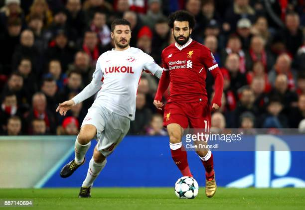 Salvatore Bocchetti of Spartak Moskva and Mohamed Salah of Liverpool during the UEFA Champions League group E match between Liverpool FC and Spartak...