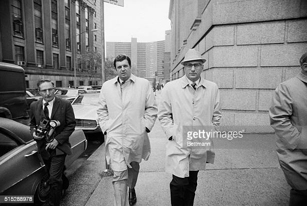 Salvatore Bonanno son of the deposed Mafia chieftain of Brooklyn Joseph Bonanno strolls with his lawyer Albert J Krieger during a lunch recess after...
