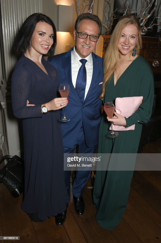 Salvatore Calabrese (C) and guests attend a private view after party for new Royal Academy Of Arts exhibition 'From Life' hosted by artist Jonathan Yeo at Brown's Hotel on December 7, 2017 in London, England.