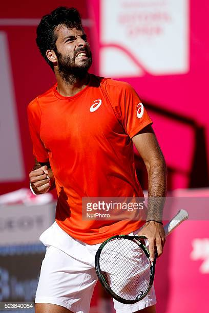 Salvatore Caruso from Italy celebrates winning a point during his Millennium Estoril Open ATP Singles qualifying 2nd round tennis match with Andrea...