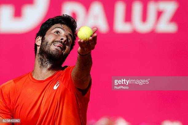 Salvatore Caruso from Italy server to Andrea Arnaboldi from Italy during their Millennium Estoril Open ATP Singles qualifying 2nd round tennis match...