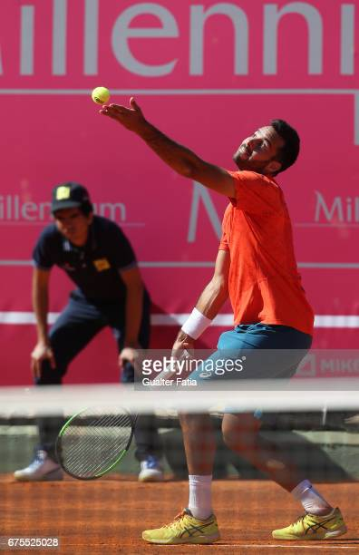 Salvatore Caruso in action during the match between Salvatore Caruso from Italy and Kevin Anderson from South Africa for Millennium Estoril Open at...