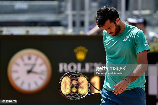 Salvatore Caruso of Italy reacts during his match against Nick Kyrgios of Australia on Day Two of The Internazionali BNL d'Italia 2016 on May 09 2016...