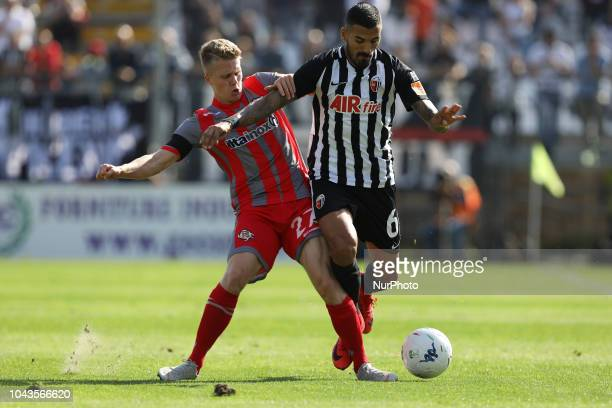 Salvatore DElia of Ascoli Calcio 1898 FC battle with Ghislaine Emmers Xian US Cremonese during the Italian Serie B 2018/2019 match between Ascoli...