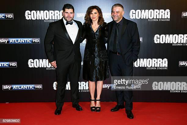 Salvatore Esposito, Maria Pia Calzone and Fortunato Cerlino attend the 'Gomorra' Tv Show premiere at Teatro Dell'Opera on May 09, 2016 in Rome.