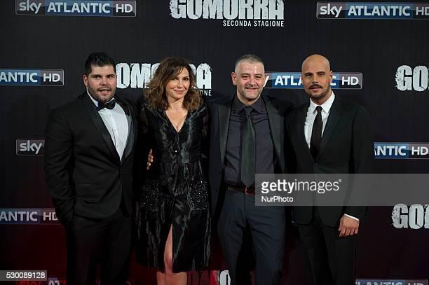 Salvatore Esposito, Maria Pia Calzone, Fortunato Cerlino and Marco D'Amore attends the 'Gomorra 2 - La serie' on red carpets at The Teatro dell'Opera...