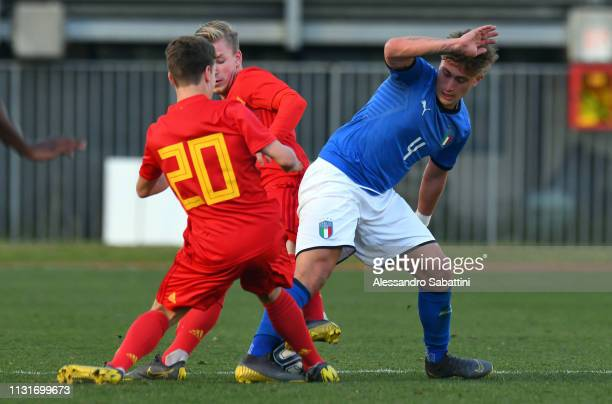 Salvatore Esposito of Italy U19 competes for the ball during the UEFA Elite Round match between Italy U19 and Belgium U19 at Stadio Euganeo on March...