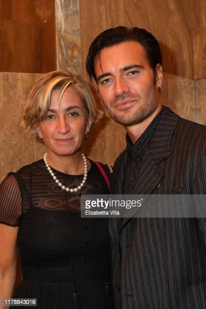 Salvatore Ferragamo CEO Micaela le Divelec Lemmi and Giulio Berruti attend the Reopening of Salvatore Ferragamo men's store on October 03 2019 in...