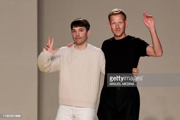 Salvatore Ferragamo's Men's readytowear design director France's Guillaume Meilland and Ferragamo's British designer and creative director Paul...