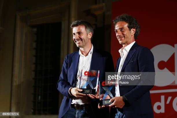 Salvatore Ficarra and Valentino Picone receive the Ciak D'Oro 2017 award at Link Campus University on June 8 2017 in Rome Italy