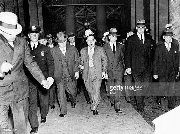 Salvatore Lucania called Lucky Luciano gangster of sicilian mafia leaving the court in New York on june 18 1936