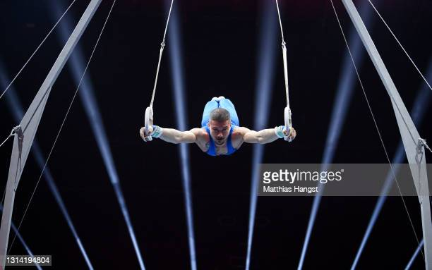 Salvatore Maresca of Italy competes on Rings during the Apparatus Finals of the European Artistic Gymnastics Championships at St. Jakobshalle on...