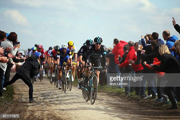 Salvatore Puccio of Italy and Team SKY leads team mate Gianni Moscon and Ian Stannard during the 2016 Paris Roubaix from Compiegne to Roubaix on...