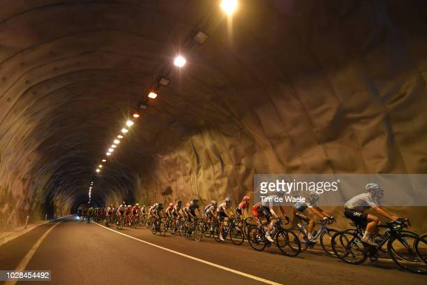 Salvatore Puccio of Italy and Team Sky / Michael Cherel of France and Team AG2R La Mondiale / Landscape / Peloton / Tunnel / during the 73rd Tour of...