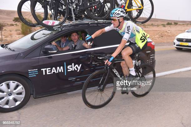 Salvatore Puccio of Italy and Team Sky / Nicolas Portal of France Sports Director / Feed Zone / Car / during the 101th Tour of Italy 2018 Stage 3 a...