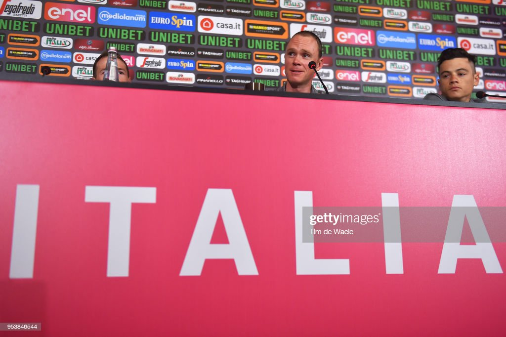 Salvatore Puccio of Italy / Christopher Froome of Great Britain / Kenny Elissonde of France / Sergio Luis Henao of Colombia / and Team Sky during the 101th Tour of Italy 2018 Team Sky Press Conference on May 2, 2018 in Jerusalem, Israel.