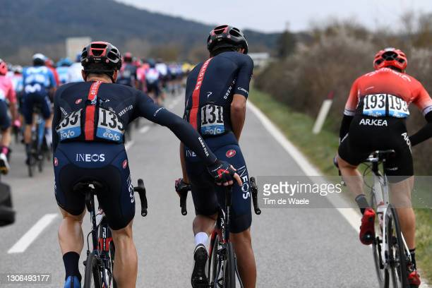 Salvatore Puccio of Italy & Egan Arley Bernal Gomez of Colombia and Team INEOS Grenadiers during the 56th Tirreno-Adriatico 2021, Stage 2 a 202km...