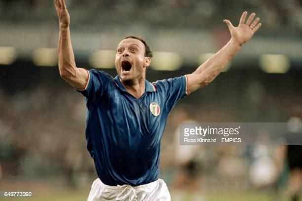 Salvatore Schillaci, Italy, celebrates goal versus Argentina in the semi-final