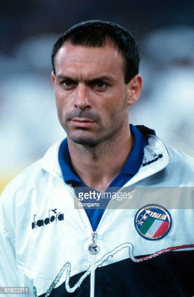 Salvatore Schillaci of Italy is seen prior to the World Cup match for the third place between Italy and England on July 07 1990 in Bari Italy