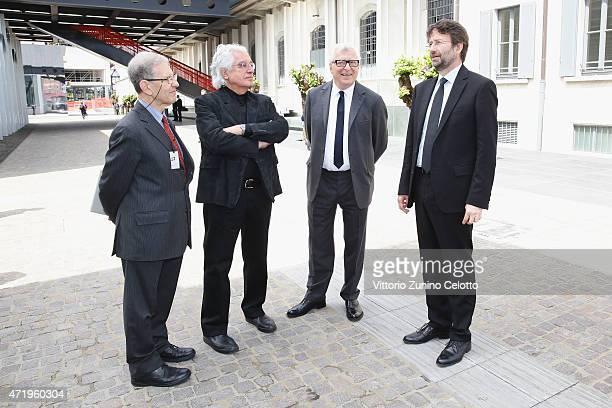 Salvatore Settis, Germano Celant, Patrizio Bertelli and Dario Franceschini attend Fondazione Prada Press Conference on May 2, 2015 in Milan, Italy.