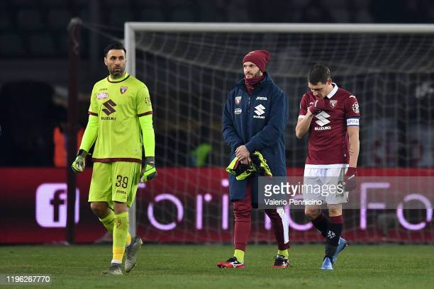 Salvatore Sirigu and Andrea Belotti of Torino FC look dejected at the end of the Serie A match between Torino FC and Atalanta BC at Stadio Olimpico...