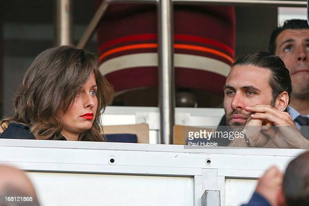 Salvatore Sirigu and guest attend the match between Paris Saint Germain FC and Valenciennes FC at Parc des Princes on May 5 2013 in Paris France