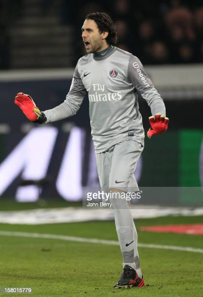 Salvatore Sirigu goalkeeper of PSG in action during the French Ligue 1 match between Paris Saint Germain FC and Evian Thonon Gaillard FC at the Parc...