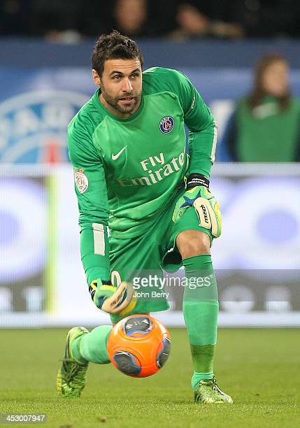 Salvatore Sirigu goalkeeper of PSG in action during the French Ligue 1 match between Paris SaintGermain FC and Olympique Lyonnais at the Parc des...