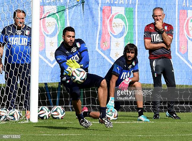 Salvatore Sirigu of Italy during a training session on June 16 2014 in Rio de Janeiro Brazil