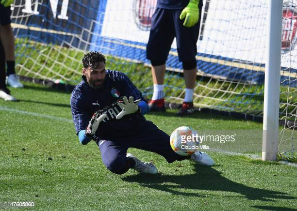 Salvatore Sirigu of Italy in action during a Italy training session at Centro Tecnico Federale di Coverciano on June 2, 2019 in Florence, Italy.