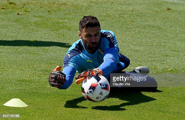 Salvatore Sirigu of Italy in action during the training session at 'Bernard Gasset' Training Center on June 24 2016 in Montpellier France