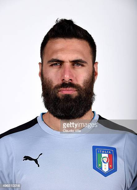 Salvatore Sirigu of Italy poses during the official portrait session at Coverciano on November 10 2015 in Florence Italy
