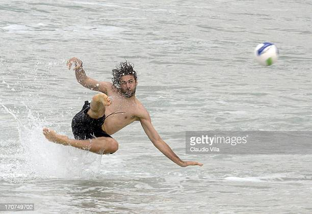Salvatore Sirigu of Italya play volleyball at the Barra de Tijuca beach on June 17 2013 in Rio de Janeiro Brazil