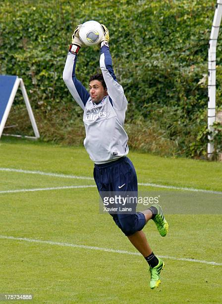Salvatore Sirigu of Paris SaintGermain in action during a training session at Clairefontaine training center on August 07 2013 in...