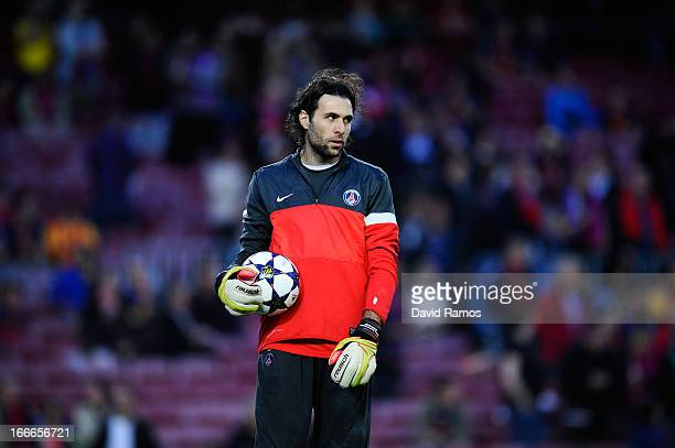 Salvatore Sirigu of Paris SaintGermain warms up ahead of the UEFA Champions League quarterfinal second leg match between Barcelona and Paris St...