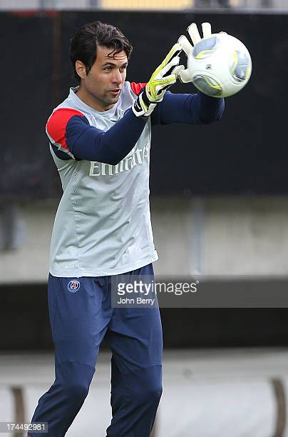 Salvatore Sirigu of PSG in action during a training session on the eve of the friendly match between Paris SaintGermain and Real Madrid at the old...