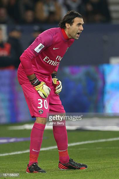 Salvatore Sirigu of PSG in action during the French Ligue 1 match between Paris Saint Germain FC and Troyes ESTAC at the Parc des Princes stadium on...