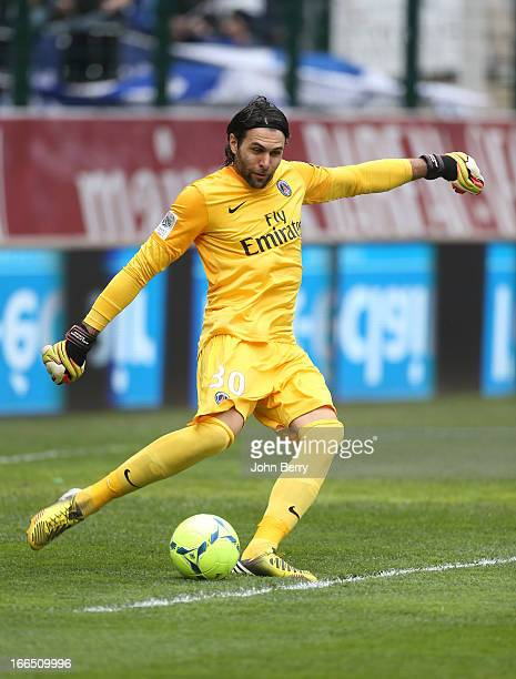 Salvatore Sirigu of PSG in action during the Ligue 1 match between ES Troyes Aube Champagne ESTAC and Paris SaintGermain FC PSG at the Stade de...