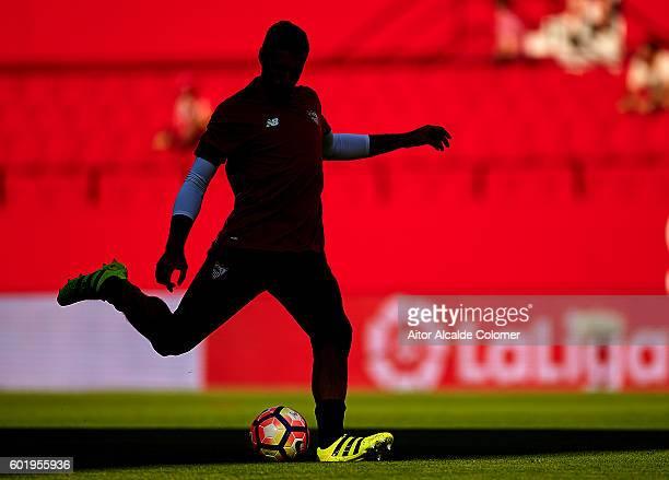 Salvatore Sirigu of Sevilla FC in action during the match between Sevilla FC vs UD Las Palmas as part of La Liga at Estadio Ramon Sanchez Pizjuan on...