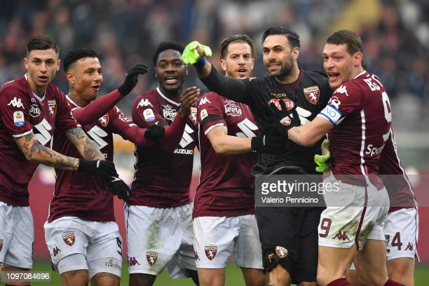 Salvatore Sirigu of Torino FC blocks the penalty during the Serie A match between Torino FC and Udinese at Stadio Olimpico di Torino on February 10...