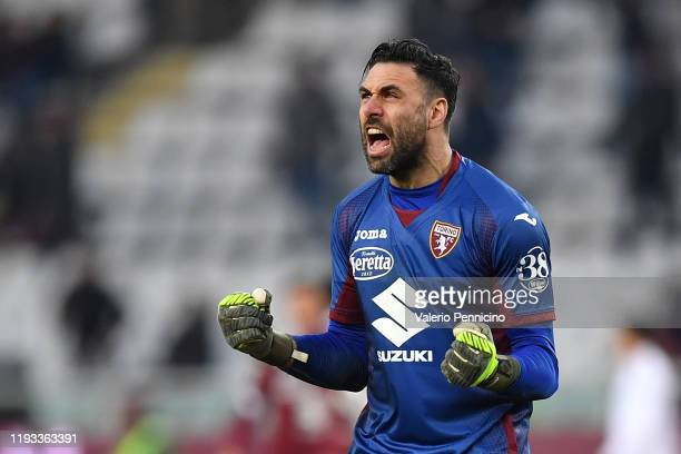 Salvatore Sirigu of Torino FC celebrates victory at the end of the Serie A match between Torino FC and Bologna FC at Stadio Olimpico di Torino on...