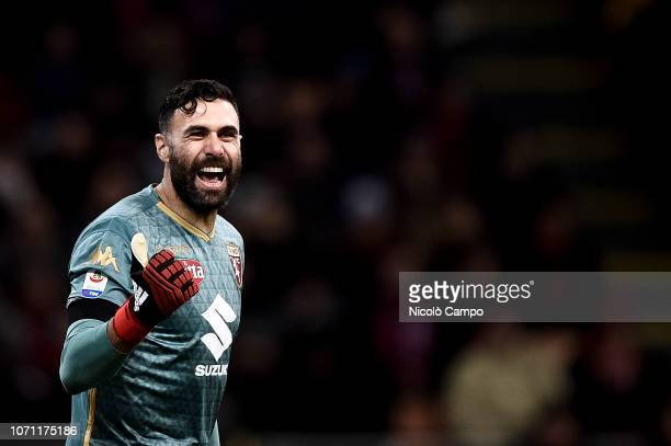 Salvatore Sirigu of Torino FC gestures during the Serie A football match between AC Milan and Torino FC The match ended in a 00 tie