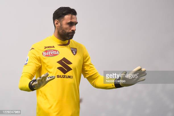 Salvatore Sirigu of Torino FC gestures during the Serie A football match between US Sassuolo and Torino FC The match ended 33 tie