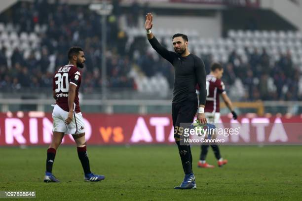 Salvatore Sirigu of Torino FC greet the fans at the end of the Serie A football match between Torino Fc and Udinese Calcio Torino Fc wins 10 over...