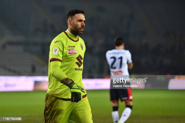 Salvatore Sirigu of Torino FC reacts during the Coppa Italia match between Torino FC and Genoa CFC at Stadio Olimpico Grande Torino on January 9,...