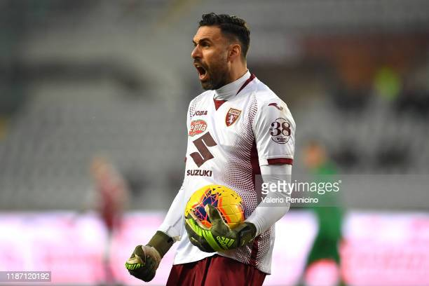 Salvatore Sirigu of Torino FC reacts during the Serie A match between Torino FC and ACF Fiorentina at Stadio Olimpico di Torino on December 8 2019 in...