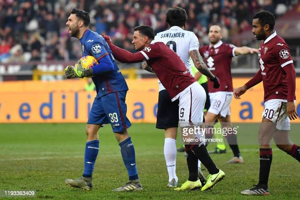 Salvatore Sirigu of Torino FC reacts during the Serie A match between Torino FC and Bologna FC at Stadio Olimpico di Torino on January 12 2020 in...