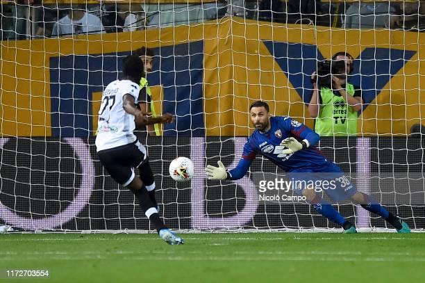 Salvatore Sirigu of Torino FC saves a penalty kick of Gervinho of Parma Calcio during the Serie A football match between Parma Calcio and Torino FC....